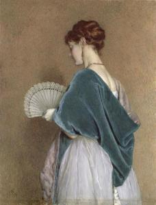 Woman with a fan by J. Dawson Watson