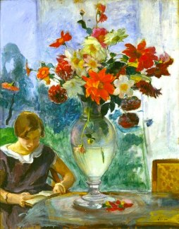 Jeune Fille Lisant et Vase de Fleurs c. 1915). Henri Lebasque