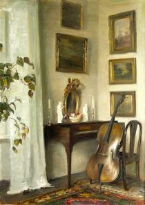 Carl Vilhelm Holsøe, Interior With Cello. Danish