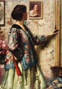 Fernand Toussaint (Bélgica, 1873-1955) Joven contemplando un cuadro de Fragonard